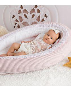 Kokon niemowlęcy różowy waffle