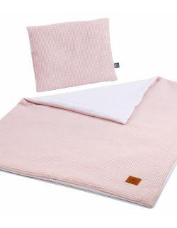 Koc z poduszką różowy waffle