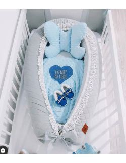 Kokon niemowlęcy szary pikowany velvet z koronką