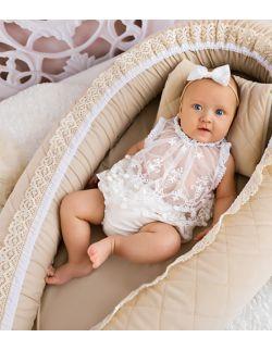 Kokon niemowlęcy kremowy pikowany velvet z koronką