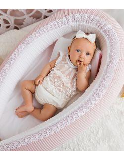 Kokon niemowlęcy różowy waffle z koronką