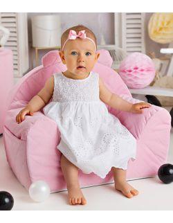 Fotelik dla dziecka różowy pikowany velvet