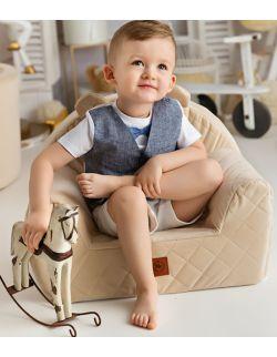 Fotelik dla dziecka kremowy pikowany velvet