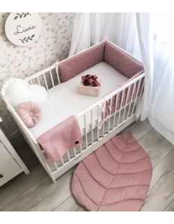 Ochraniacz do łóżeczka - brudny róż