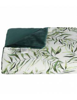 Kocyk bambusowy z velvetem + poduszka EXOTIC LEAVES
