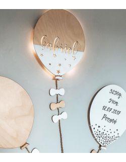 Lampka z imieniem balon, zestaw dekoracyjny