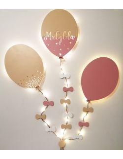 Lampka balon z imieniem, zestaw dekoracyjny, 3 LED