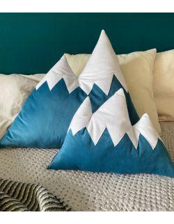 poduszka góry niebieska welur mała