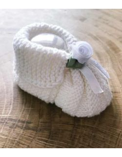 Handmade wełniane buciki do chrztu dla dziewczynki wyprawka prezent