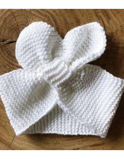 Handmade biała opaska dla dziewczynki na chrzest święty