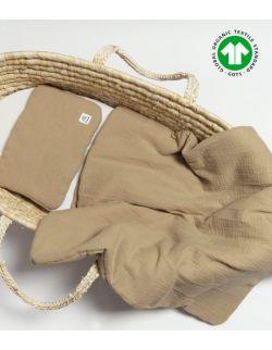 Komplet pościeli muślinowej beżowej z wypełnieniem 100% bawełna ekologiczna GOTS 60x70
