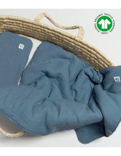 Komplet pościel muślinowa jeans z wypełnieniem 100% bawełna ekologiczna GOTS 60x70 Mulinek