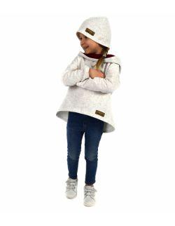 bluza z przedłużonym tyłem dla dziewczynki ecru z bordo