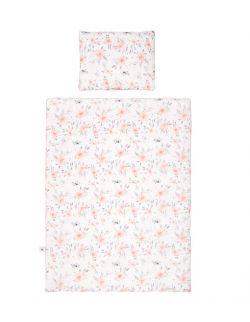 Pościel z wypełnieniem kwiaty szara wypustka 75/100cm/30/40cm