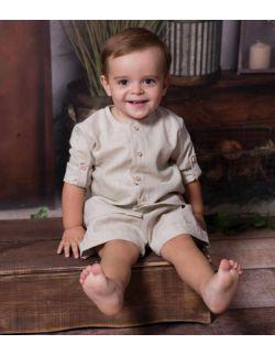 beżowy stylowy lniany komplet dla chłopca na lato koszula bermudy