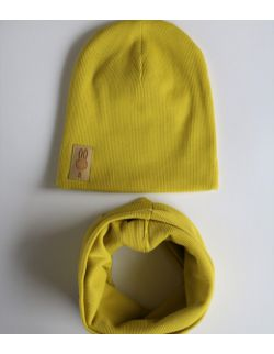 komplet czapka i komin limonkowy USZYTEK