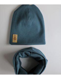 komplet czapka i komin niebieski USZYTEK