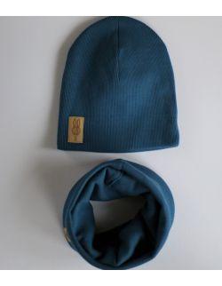 komplet czapka i komin BŁĘKITNY USZYTEK