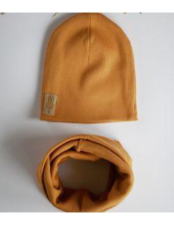 komplet czapka i komin MUSZTARDOWY USZYTEK