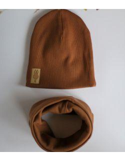 komplet czapka i komin brązowy uszytek