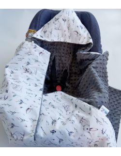 Kocyk do fotelika Bunnies & grey dots