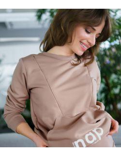 beżowa bluza ciążowa z ekspresami