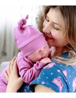 różowa czapeczka niemowlęca z prążkowanej bawełny