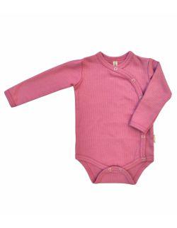 różowe body niemowlęce z prążkowanej bawełny