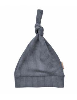 szara czapeczka niemowlęca z prążkowanej bawełny