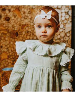 delikatna elegancka sukienka muślinowa dla dziewycznki miętowa