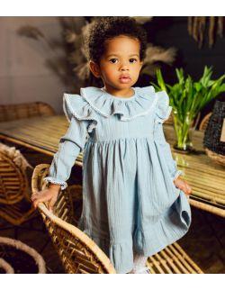 Błękitna delikatna sukienka z muślinu z koronką dla dziewczynki