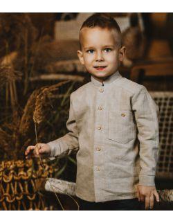 beżowa elegancka koszula lniana z długim rękawem dla chłopca
