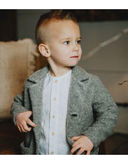elegancka koszula lniana dla chłopca biała chrzest roczek