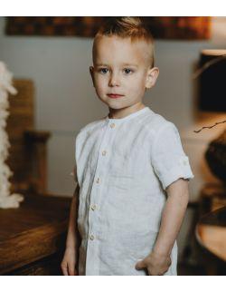 biała elegancka koszula lniana dla chłopca chrzest roczek