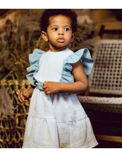 Clara delikatna sukienka dla dziewczynki z kokardką i falbanką