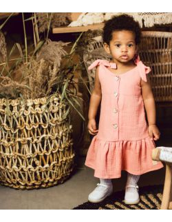 Luise subtelna muślinowa sukienka dla dziewczynki z kokardką