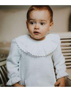 elegancka biała muślinowa bluzeczka z kołnierzykiem koronką chrzest