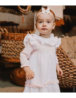 Laurella elegancka sukienka z muślinu dla dziewczynki z falbanką chrzest