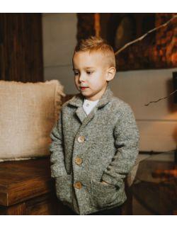 elegancki szary płaszczyk marynarka dla chłopca