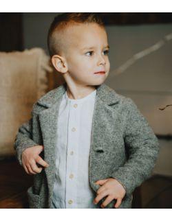 Szary melanż płaszczyk dla chłopca z wełny