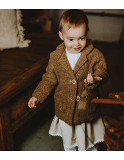 Beżowy płaszczyk dla dziewczynki z wełny
