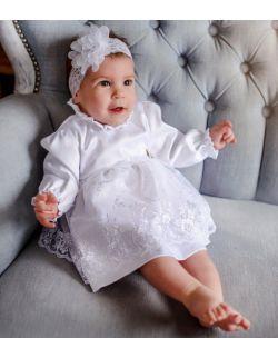 Bianca subtelna elegancka koronka sukienka dla dziewczynki na chrzest roczek
