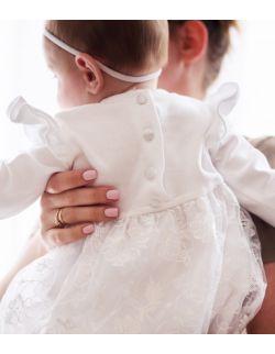 Chanel delikatna elegancka koronkowa sukienka dla dziewczynki na chrzest roczek