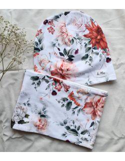 Czapka i komin/chusta retro flowers