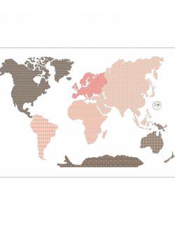 Naklejka World Map Pink