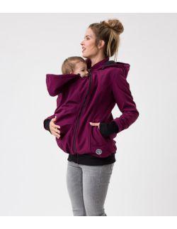 EVEVREST Kurtka softshell ciążowa oraz do noszenia dziecka- śliwka