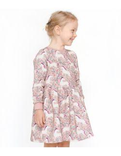 Sukienka dresowa jednorożce w kwiatach