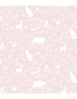 tapeta w rolce forest animals | pink - pastelowe love