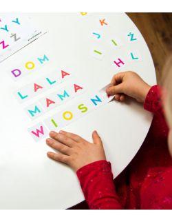 wielorazowe naklejki - nauka literek - alfabet - układam słowa - litorelepki