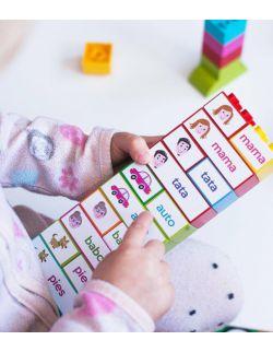 wielorazowe naklejki - na klocki - do nauki czytania - poznaję słowa układając klocki